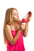 Shopping woman loves shoes — Stock Photo