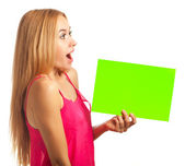 Young woman hold sign card — Stock Photo