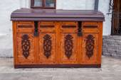Old wooden chest with locked lit — Stock Photo