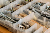 Organized bolts, screws, nuts and washers — ストック写真