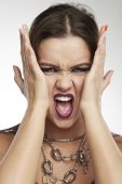Woman Making Faces: Panic — Stock Photo