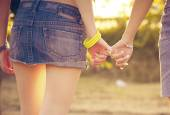 Two woman holding their hands — Stock Photo