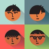 Jungs Kopf Icons mit Schatten — Stockvektor