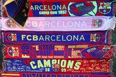 Attributes of FC Barcelona. Football club scarfs. — Stock Photo
