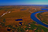 Tundra of the Taimyr Peninsula in the spring of views from a helicopter. Siberia, Тундра сибирская — Stock Photo