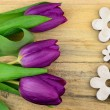 Purple tulips flowers on old wood with empty space for layout or text in spring concept decoration — Stock Photo #68364883