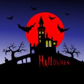 Halloween at the castle — Stock Vector