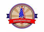 Groundhog day. stempel. — Stockvector