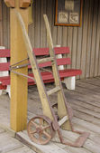 Railroad handcart on train station platform — Stock Photo