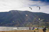 Kiteboarding in the afternoon sun — Stock Photo
