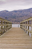 Weathered wooden boat ramp — Stock Photo