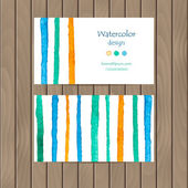 Vector business card with watercolor strips — Stock Vector
