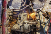 Old car motor flame cutting. — Stock Photo