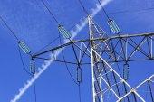 High voltage transmission line pylon — Stock Photo