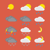Flat color weather icons — Stock Vector