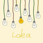 Yellow light bulbs. idea concept — Stock Vector