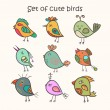 Set of 9 cute birds in vector. Colorful birds doodle collection. — Vector de stock  #63933945