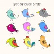 Set of 9 cute birds in vector. Colorful birds doodle collection. — Stok Vektör #71348055
