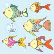 Various cute fishes collection — Stock Vector #74665911