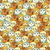 Seamless cute owl pattern vector illustration — Stock Vector