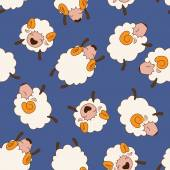 Bunch of sheeps. Seamless pattern. — Stock Vector