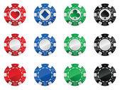 Set of gambling poker chips — Stock Vector