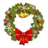 Christmas wreath with red bow  isolated on whitw — Stock Photo