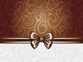 Abstract chocolate background with bow and ribbons — Vettoriale Stock