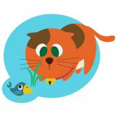 Red cat hunting the bird — Stock Vector