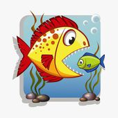 Big fish absorbs small fish — Stock Vector