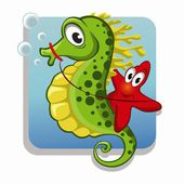 Funny starfish on the seahorse — Stock Vector