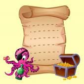 Ilustración de vieja carta con pulpo y tesoros — Vector de stock