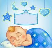 Greeting card for newborn boy — Stock Vector
