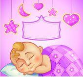 Greeting card for newborn girl — Stock Vector