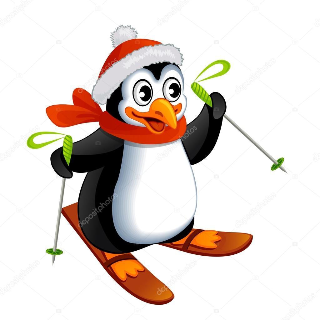 Pingouin dessin animé sur ski — Image vectorielle #58512617