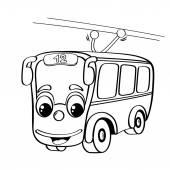 Funny cartoon trolley bus — Stock Vector