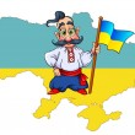 Cossack with  ukrainian flag — Stock Vector #61249039