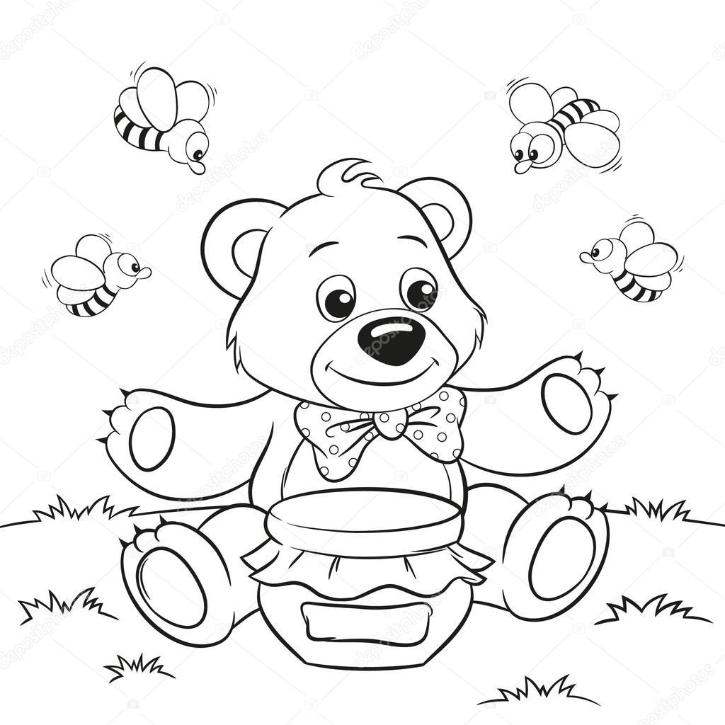 Раскраска медведь с пчелами