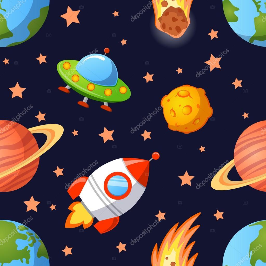 Infantiles espacio sin fisuras patr n con planetas ovnis - Dibujos infantiles del espacio ...