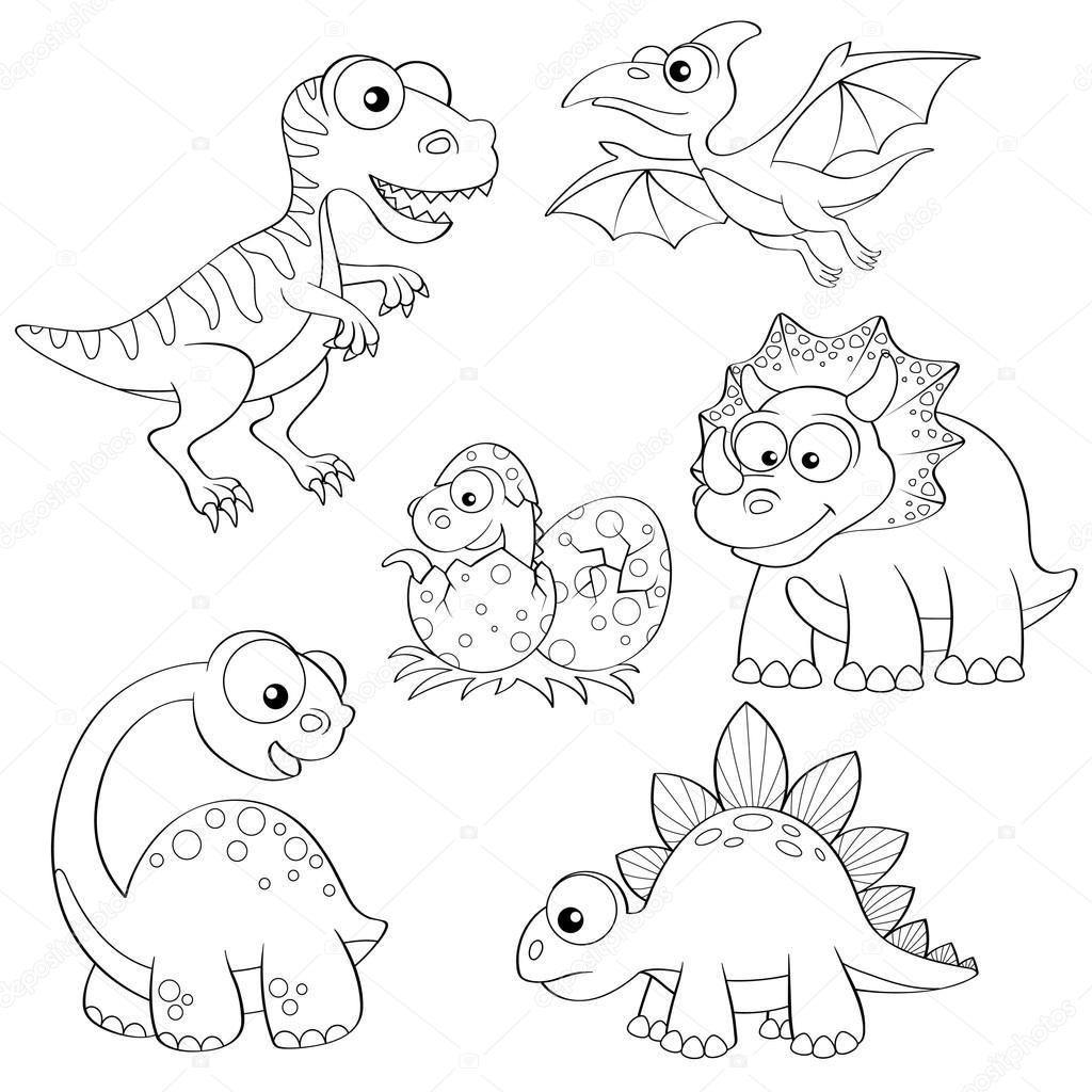 Conjunto de dinosaurios de dibujos animados — Vector de ...