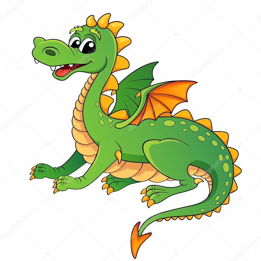 Drago simpatico cartone animato — vettoriali stock