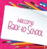 Back to School Background with School Items — Stok Vektör