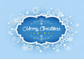 Elegant Merry Christmas Words in Winter Snows Background — Stock Vector