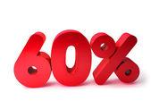 60 procent Render 3d Word czerwony na białym w tle — Zdjęcie stockowe