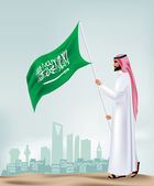Saudi Arabia Man Holding Flag in the City Vector — Stock Vector