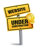 Website Under Construction Sign in White Background — Stock Vector