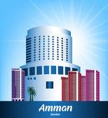 City of Amman Jordan Famous Buildings — Stock Vector