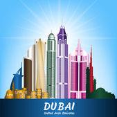 Colorful City of Dubai UAE Famous Buildings — Stock Vector