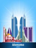 Colorful City of Manama Bahrain Famous Buildings — Vector de stock
