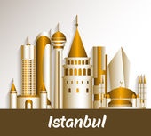 City of Istanbul Turkey Famous Buildings — Stock Vector